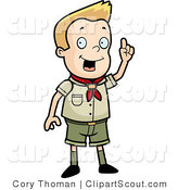 Clipart of a Scout Boy with an Idea Standing and Holding up a Finger by Cory Thoman