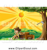 Clipart of a Scout Boy with Chopped Wood at Sunset by Graphics RF