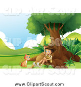 Clipart of a Scout Explorer Boy and Ginger Cat Under a Tree by Graphics RF
