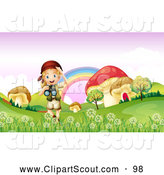 Clipart of a Scout Explorer Girl with Binoculars in a Meadow of Giant Mushrooms by Graphics RF