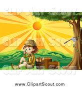 Clipart of a Scout Girl by Chopped Wood at Sunset by Graphics RF