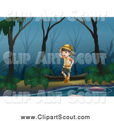 Clipart of a Scout Girl Exploring a Swamp by Graphics RF