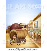 Clipart of a Scout Girl Sitting in a Ghost Town Wagon by Graphics RF
