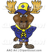 Clipart of a Scout Moose in a Blue Uniform by Dennis Holmes Designs