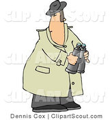 Clipart of a Scouting Spy Holding Binoculars by Djart