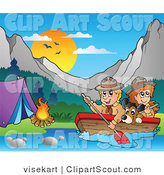 Clipart of a Scouts Paddling in a Boat by a Campground by Visekart