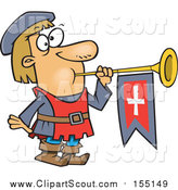 Clipart of a Short Herald Blowing a Horn Cartoon by Ron Leishman