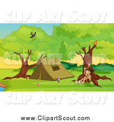 Clipart of a Sitting Explorer Boy by a Camping Tent by Graphics RF