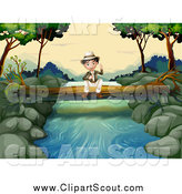 Clipart of a Sitting Explorer Boy on a Fallen Log over a Stream by Graphics RF