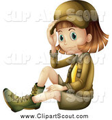 Clipart of a Sitting Explorer Girl by Graphics RF