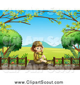 Clipart of a Sitting Explorer Girl on a Boardwalk over a Valley by Graphics RF