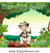 Clipart of a Smart Asian Boy Sitting on a Log by Graphics RF