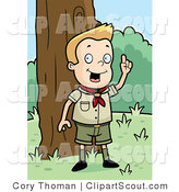 Clipart of a Smart Blond Cub Scout Boy Outdoors by Cory Thoman