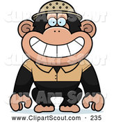 Clipart of a Smiling Chimpanzee Explorer by Cory Thoman