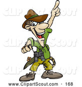 Clipart of a Smiling Male Explorer Pointing Upwards by Dennis Holmes Designs