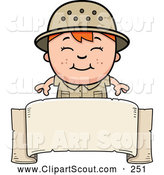 Clipart of a Smiling Red Haired Safari Boy over a Blank Banner by Cory Thoman