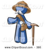 Clipart of a Stylish Blue Man Explorer with a Pack and Cane by Leo Blanchette