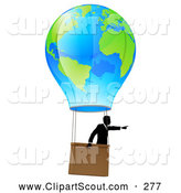 Clipart of a Successful Businessman Pointing and Floating in a World Hot Air Balloon by AtStockIllustration