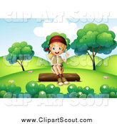 Clipart of a Talking Explorer Girl Sitting on a Log by Graphics RF