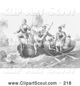 Clipart of a the Landing of Columbus at San Salvador - Artwork by JVPD