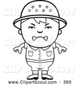 Clipart of a Upset Black and White Angry Safari Boy by Cory Thoman