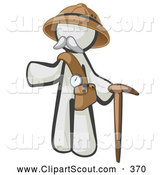 Clipart of a White Man Explorer with a Pack and Cane on White by Leo Blanchette