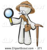 Clipart of a White Person Explorer with a Pack Cane and Magnifying Glass by Leo Blanchette