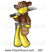 Clipart of a Yellow Explorer Man Carrying a Machete on White by Leo Blanchette