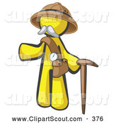 October 13th, 2013: Clipart of a Yellow Man Explorer with a Pack and Cane on White by Leo Blanchette