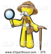 Clipart of a Yellow Man Explorer with a Pack Cane and Magnifying Glass on White by Leo Blanchette