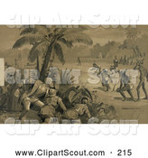Clipart of an Artowrk of Christopher Columbus and His Crew Men at the First Landing in the New World at San Salvador by JVPD