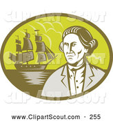 Clipart of an Explorer and Ship Oval Logo by Patrimonio