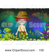 Clipart of an Explorer Boy in Foliage Against Northern Lights by Graphics RF