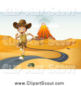 Clipart of an Explorer Boy Running on a Desert Road, with a Volcano in the Background by Graphics RF
