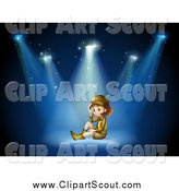 Clipart of an Explorer Girl Sitting Under Stage Spotlights by Graphics RF