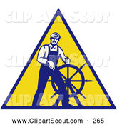 Clipart of an Old Fashioned Captain Steering a Helm on a Yellow Sign by Patrimonio