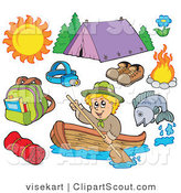 Clipart of an Ourdoor Sports Digital Collage of Summer Recreation and Camping Equipment by Visekart