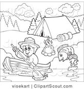 Clipart of an Outlined Scout Boy Boating past a Campground by Visekart