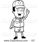 December 9th, 2013: Clipart of an Outlined Smart Black Cub Scout Boy Holding up His Finger by Cory Thoman