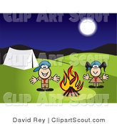 Clipart of Boy and Girl Scouts Camping by a Fire by David Rey