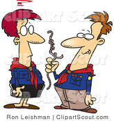 Clipart of Cartoon Scout Leaders Trying to Figure out Rope Knots by Toonaday