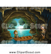 Clipart of Children Exploring Coastal Caves by Graphics RF