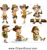 Clipart of Explorer Boys and Girls by Graphics RF