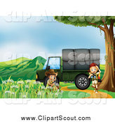 Clipart of Explorer Children by a Cargo Truck by Graphics RF