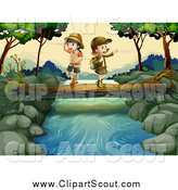 Clipart of Explorer Kids Crossing a Creek on a Log by Graphics RF