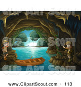 Clipart of Explorer Kids Exploring a Cave by Graphics RF