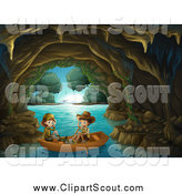 Clipart of Explorer Kids in a Water Cave by Graphics RF