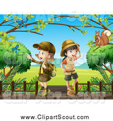 Clipart of Explorer Scout Girls and Critters on a Boardwalk by Colematt