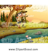 Clipart of Explorer Scout Girls on a River Bank by Graphics RF