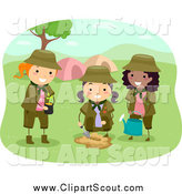 Clipart of Girl Scouts Planting a Tree by a Camp Site by BNP Design Studio